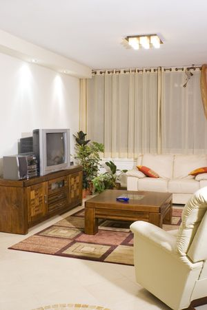 Living room suite of soft furniture, modern interior, feng-shui style photo