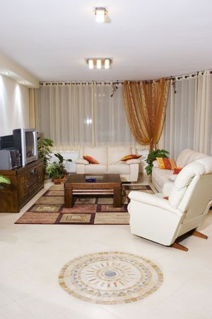 fengshui: Living room suite of soft furniture, modern interior, feng-shui style