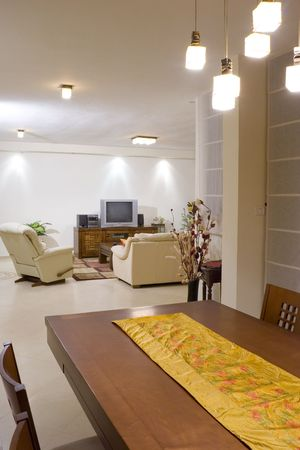 Living room suite of soft furniture, modern interior, feng-shui style