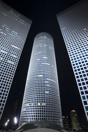 business centre: The night city, business centre, Modern office building