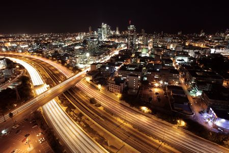 Tel Aviv Skyline - Tel Aviv at twilight  The night city   View of Tel Aviv by night. Stock Photo