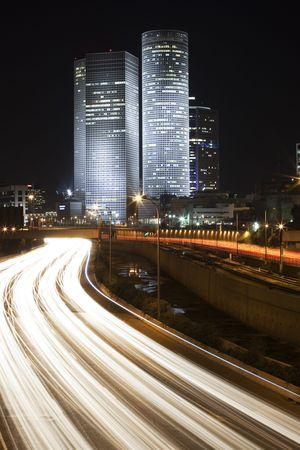 The Tel Aviv night city, Azrieli center,  Business centre , Ayalon freeway Stock Photo - 4235270