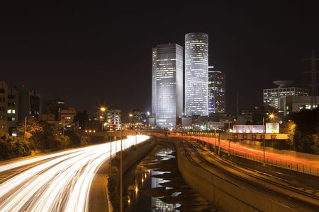 The Tel Aviv night city, Azrieli center,  Business centre , Ayalon freeway Stock Photo - 4235268