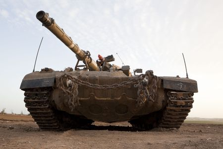 Israeli � Palestinian conflict. Israeli military operation Cast Lead. Israeli tank Merkava ( Mercava)  Mk 4 on border with Gaza strip photo