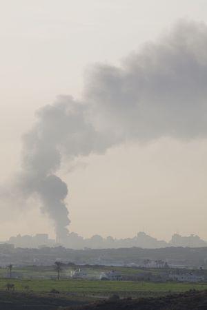 gaza: Israeli � Palestinian conflict. Israeli military operation Cast Lead. Smoke over Gaza strip after the Israeli army air strike 15012009