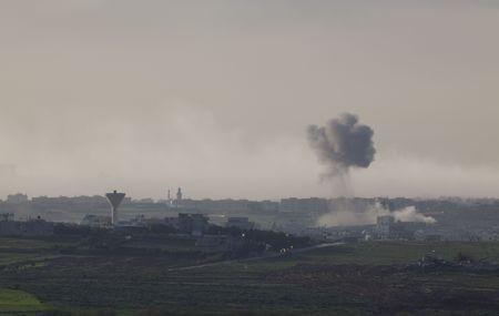gaza: Israeli � Palestinian conflict. Israeli military operation Cast Lead. Smoke in Gaza city after the Israeli army air strike 15012009