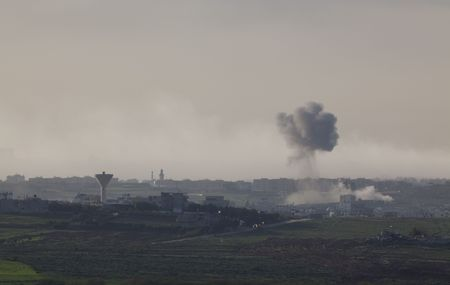 Israeli – Palestinian conflict. Israeli military operation Cast Lead. Smoke in Gaza city after the Israeli army air strike 15/01/2009 Stock Photo - 4342610