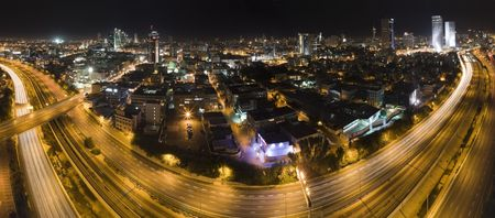 Panorama of Tel Aviv city skyline at night Israel   photo
