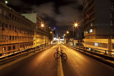Dark street in Tel Aviv, Israel photo