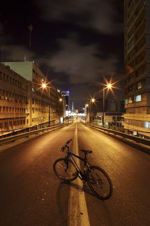 Dark street in Tel Aviv, Israel photo