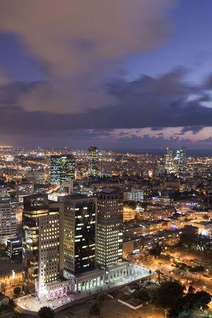 Night city, Tel Aviv at sunset, Israel photo