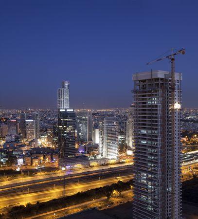 Night city skyline, Business center in Ramat Gan, Israel photo