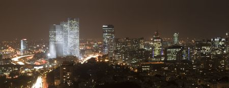 Panorama of Tel Aviv skyline  at night, Israel photo