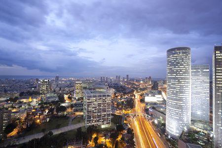 Night city, Tel Aviv at sunset, Israel