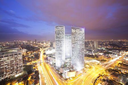Night city, Tel Aviv at sunset, Israel Stock fotó