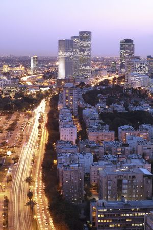 Night city, Tel Aviv at sunset, Israel photo