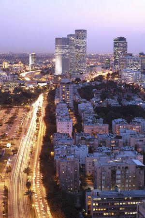 tel: Night city, Tel Aviv at sunset, Israel