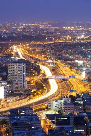 Ayalon Highway at twilight, Tel Aviv at sunset, Israel photo