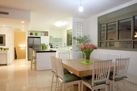 Modern design kitchen with white and wood elements Stock Photo - 7181829