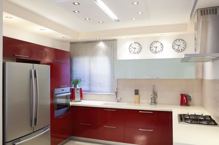 Luxury kitchen with red and marble elements Stock Photo - 7380540