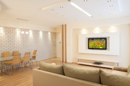 Modern room with plasma tv Stock Photo - 8004199