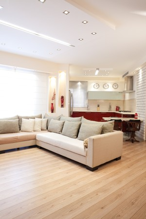 parquet floor: Modern design living room and kitchen white red and wood elements