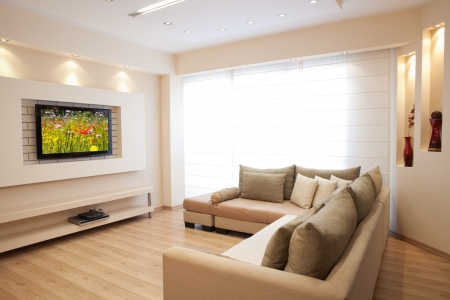 living room interior: Modern room with plasma tv