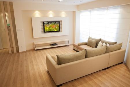 Moderne Zimmer mit Plasma tv  Lizenzfreie Bilder