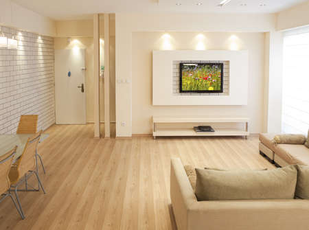 プラズマの備わるモダンな客室テレビ 写真素材