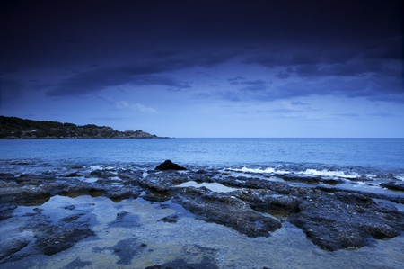 Dramatic sky over sea photo