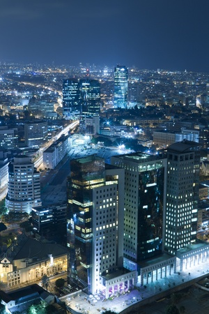 Night city, Tel Aviv at night, Israel photo