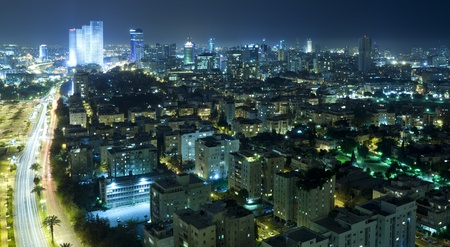 Panorama of the skyline Tel Aviv city at night, Israel Stock Photo - 9532960