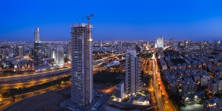 Night city, Tel Aviv at sunset, Israel This image was taken from three different shots photo