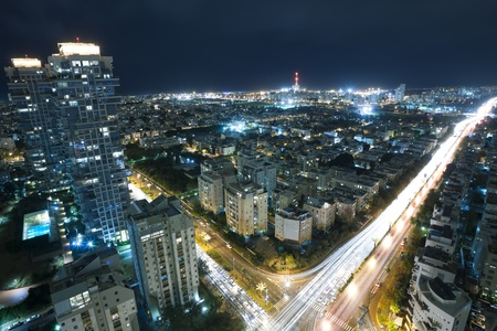Tel Aviv at night, Israel Stock Photo