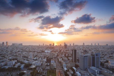 Tel Aviv at sunset, Israel photo