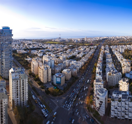 Tel Aviv  skyline  at sunset  Aerial view of  Tel Aviv photo