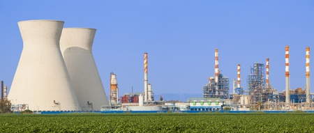 Panoramic shot power station at sunset Stock Photo - 10478367