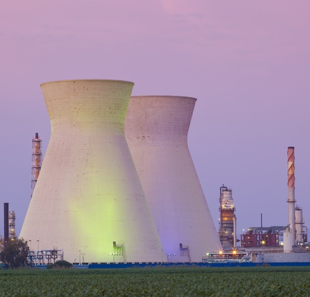 nuclear energy: Panorama of power stations at sunset