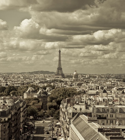 City skyline - sepia toned, Paris, France This image was taken from two different shots  photo