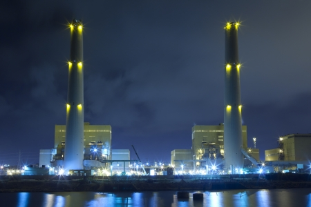 Power plant at night Stock Photo - 10478347