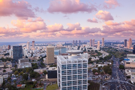 Night city, Tel Aviv at sunset, Israel Stock Photo - 11314814