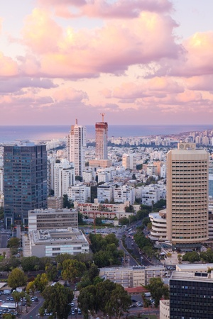 Night city, Tel Aviv at sunset, Israel
