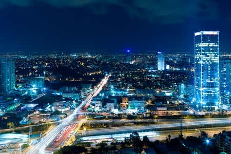 Night city, Tel Aviv at night, Crossroad Traffic Stock Photo - 11314828