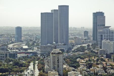 tel: Tel Aviv  skyline  at day  Aerial view of  Tel Aviv