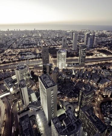 ramat aviv: Tel Aviv at sunset, Ramat Gan Exchange District  Editorial
