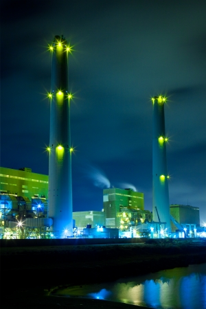 power cable: Power plant at night