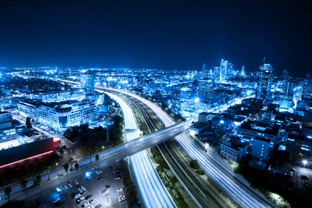 Aerial  View Of Tel Aviv At Night - Tel Aviv Cityscape Banco de Imagens