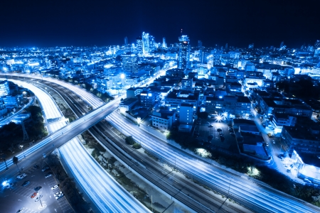 crossroads: Aerial  View Of Tel Aviv At Night - Tel Aviv Cityscape Stock Photo
