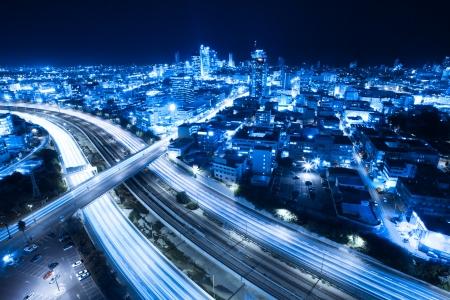 night highway: Aerial  View Of Tel Aviv At Night - Tel Aviv Cityscape Stock Photo