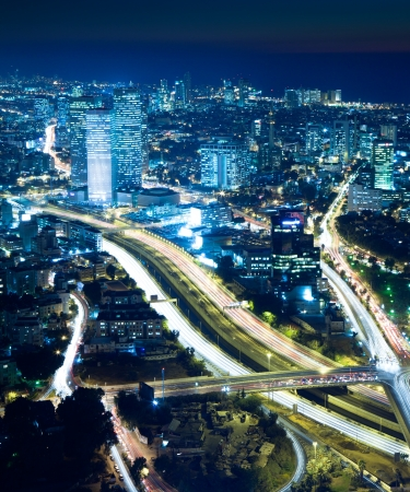 Night city, Tel Aviv at night, Crossroad Traffic photo